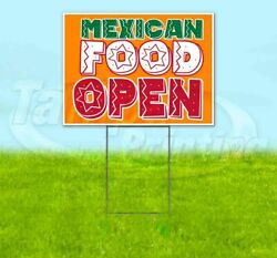 Mexican Food Open Yard Sign Corrugated Plastic Bandit Lawn Decoration Usa