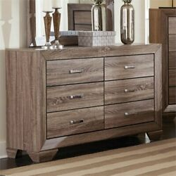 Coaster Kauffman 6 Drawer Double Dresser with Tapered Feet in Taupe