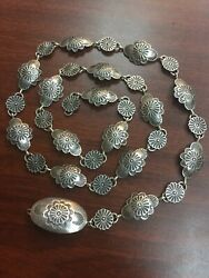 Extremely Rare Navajo Sterling Silver Belt - Vintage Oscar Alexius