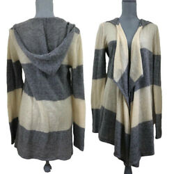 Anna Sui Target Striped Hooded Drape Open Front Cardigan Sweater Womens Sz Large
