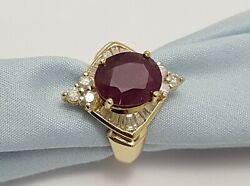 Yellow Gold 14k Karat Designer Gold Ring With Ruby And Diamonds Gia Certified
