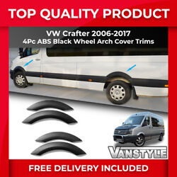 Vw Volkswagen Crafter 2006-16 Abs Black 4pc Wheel Arch Cover Trims Protection