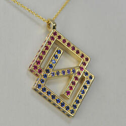 14k Yellow Gold Geometric Abstract ''69 Tall'' Pendant With Chain