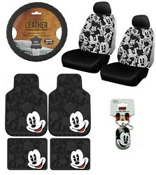 New 12pc Mickey Mouse Car Floor Mats Seat Covers And Steering Wheel Cover Gift Set