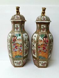 Antique Pair Of Chinese Cantonese Porcelain Hexagonal Vases With Lids