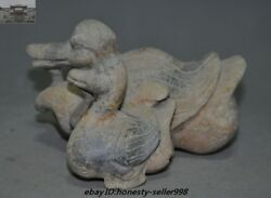 6 Rare Chinese Old Jade Hand-carved Feng Shui Wealth Lucky Ducks Duck Statue