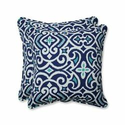 Pillow Perfect Outdoor  Indoor New Damask Marine 18.5-inch Throw Pillow (Set of