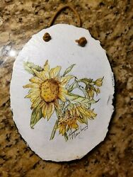 Hand Painted Sunflower On Slate/ Stone Leather Hanger Fall Thanksgiving