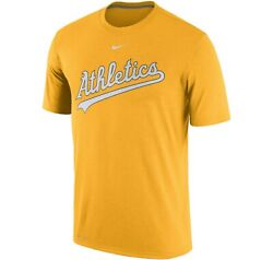 New Mlb Oakland A's Athletics T Shirt Nike Dri Fit Gold Yellow Nwt Authentic Hot