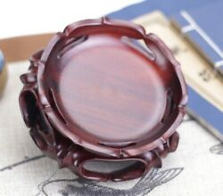 Rosewood Carved Fishbowl Stand Crystal Sphere Ball Pot Stone Holder Rack Base