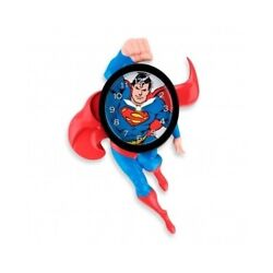 Superman Wall Clock 3-d Animated Kids Bedroom Decor Moving Novelty Timepiece Red