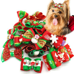 20100pcs Pet Cat Dog Christmas Hair Bows Rubber Bands Dog Grooming Accessory