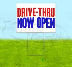 Drive-thru Now Open Yard Sign Corrugated Plastic Bandit Lawn Decorations