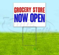 Grocery Store Now Open Yard Sign Corrugated Plastic Bandit Lawn Decorations