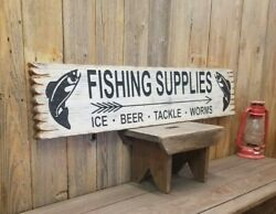 Fishing Supplies Ice Beer Tackle Worms/carved/rustic/wood/sign/cabin/décor/lodge