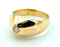 Magnificent Solitaire Ring Chevaliere Gold 18 Gold - Diamond 0.12 Carat - 0.3oz