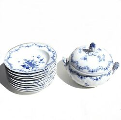 Antique German Royal Berlin C1850 Blue And White Butterfly Soup Tureen Rim Bowls
