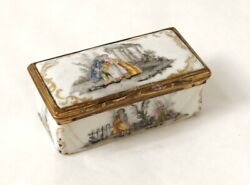 Small Box Enamel Grisaille Characters Scene Romantic Ruins Xviiième