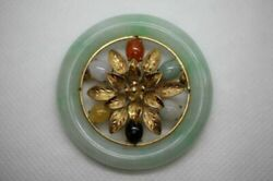 14k Yellow Gold Large Flower Round Jade Pendant Pin Brooch Multi Colored