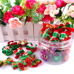 2060100pcs Pet Cat Dog Christmas Hair Bows Dog Grooming Accessories for Yorkie
