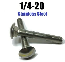 1/4-20 Carriage Bolts Stainless Steel All Lengths And Quantities In Listing