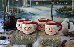 Pottery Barn Figural Mrs. Claus Mugs 4 -nib- Get Your Head Into The Holidays