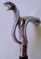 vintage big Brass Snake Head Handle silver only handle unique design solid style