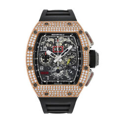 Richard Mille RM011 Titanium and Rose Gold Diamond Pave Chronograph 50MM Watch