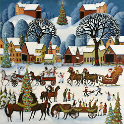 Special 9x9 Folk Art Print Country Christmas Parade Tree Decorations Dc Criswell