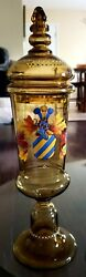 19th C Tall Bavarian Hand Blown And Painted Theresienthal Pokal Drinking Vessel