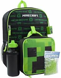 Minecraft Backpack Set 5 Piece Lunch Box Water Bottle Ice Pack Creeper Bags Kids