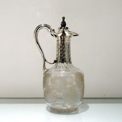 Sterling Silver And Crystal Claret Jug London 1859 George Richards And Edward Brown