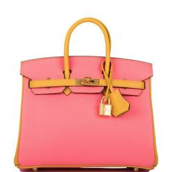 Hermes SO Bi-Color Rose Azalee & Jaune Ambre Clemence Birkin 25cm Gold Hardware