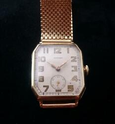 1940s Waltham 14k Solid Gold Case And 14 K Gold Band 17j Movement Mens Watch