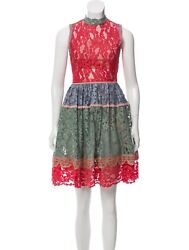 Alexis Vedette Lace Colorblock Multicolor Red Green Sleeveless Cocktail Dress Xs