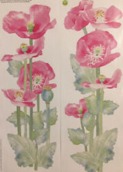 WATERCOLOR POPPIES wall stickers 2 large decals room decor pink flowers garden
