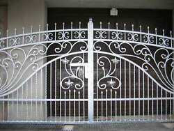 New Solid Wrought Iron Driveway Swing Gate And Pedestrian Gate Hand Made