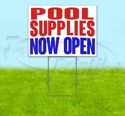 Pool Supplies Now Open Yard Sign Corrugated Plastic Bandit Lawn Decoration Usa