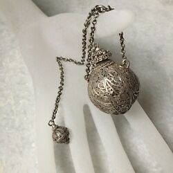 Antique Russian Filigree Silver Glass Perfume Bottle On A Chain 19th Century