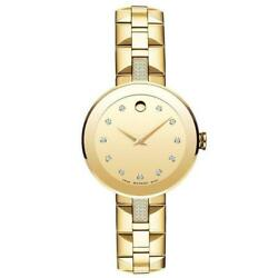 Movado 0606817 Sapphire 28mm Womenand039s Stainless Steel With Sets Of Diamond Watch