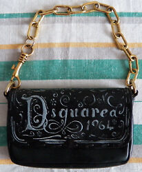 DSQUARED 1964 Black Small Leather Evening Bag Clutch Gold Tone Chain dsquared2 C $330.00