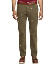 Brooks Brothers Red Fleece Fabulous Novelty Pants Dogs And Fire Hydrant 35 W 34l