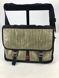 Chrome Messenger Bag Metal Hooks Shiny Checker Straw Design