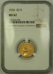 1926 Indian Quarter Eagle 2.50 Gold Coin Ngc Ms-62