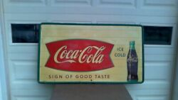 Rare 50and039s 60and039s Large 55.5 X 32 Coca Cola Fishtail Tin Sign Original Robertson