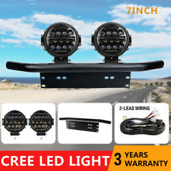2x 7inch Led Work Light Offroad Driving + 23and039and039 License Plate Mount Bracket +wire