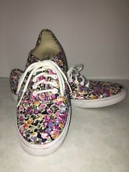 EUC Vans Off The Wall Purple Navy Gold Floral Classic Shoes Sneakers Women's 8