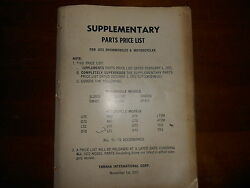 Oem Yamaha 1972 Snowmobile Motorcycle Dealer Supplementary Parts Price List
