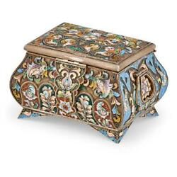 Incredible Russian Silver And Cloisonne Trinket Box.