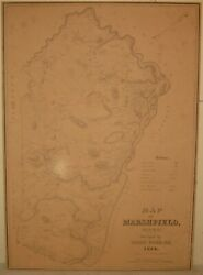 Antique 1838 John Ford 'map Of Marshfield Massachusetts' - First Map Of The Town